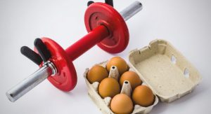 barbell and eggs